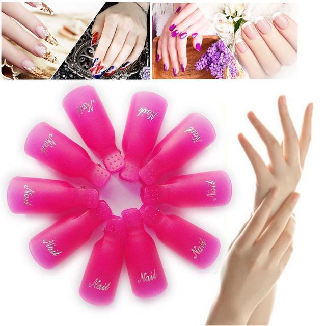 Reusable New 10pcs Cool Plastic Nail Art Soak Off Cap Clip Uv Gel