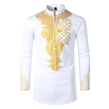 Mens Fashion African Print Bronzed Dress Shirts 2019 Brand New Tribal Ethnic Shirt Men Long Sleeve Africa Clothing Camisa
