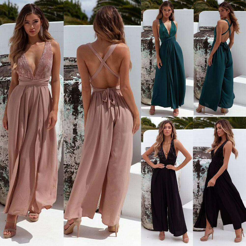 Hirigin Womens Summer Sexy V Neck Sleeveless Backless Bandage Jumpsuit Loose Wide Leg Pants Playsuit