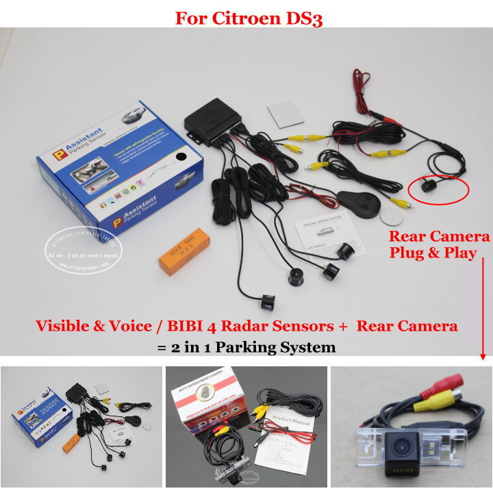 For Citroen DS3 - Car Parking Sensors + Rear View Back Up Camera = 2 in 1 Visual / BIBI Alarm Parking System for citroen berlingo saxo xsara car parking sensors rear view camera 2 in 1 visual bibi alarm parking system