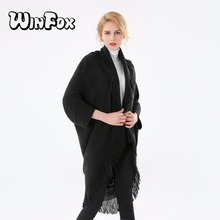 Winfox 2018 New Brand Fashion Winter Black Navy Coffee Pashmina Sweater Coat Tassel Poncho and Cape For Womens Ladies