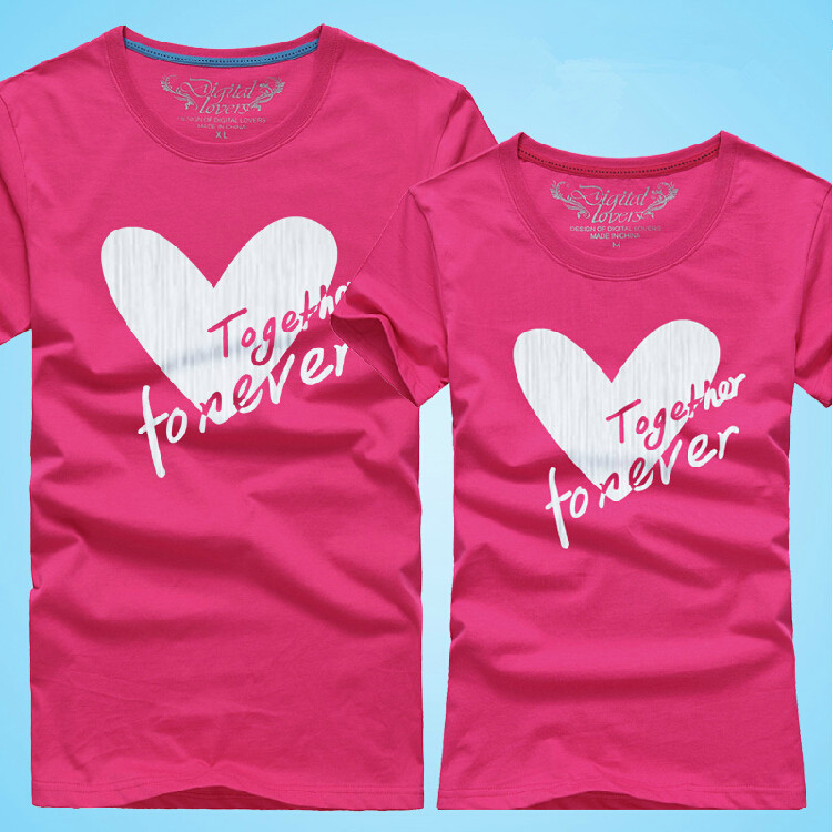 375a75554 10 color Couples Men & Women Heart LOVE t-shirts Printing Cotton Lovers t  shirt,together forever tshirts 0031