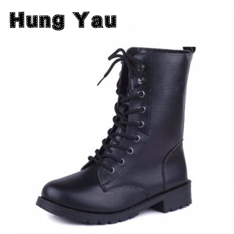 Women Lace Up Martin Boots Round Toe PU Leather Boots Shoes 2016 New Ladies Combat Military Ankle Motorcycle Boots Plus Size 42 front lace up casual ankle boots autumn vintage brown new booties flat genuine leather suede shoes round toe fall female fashion