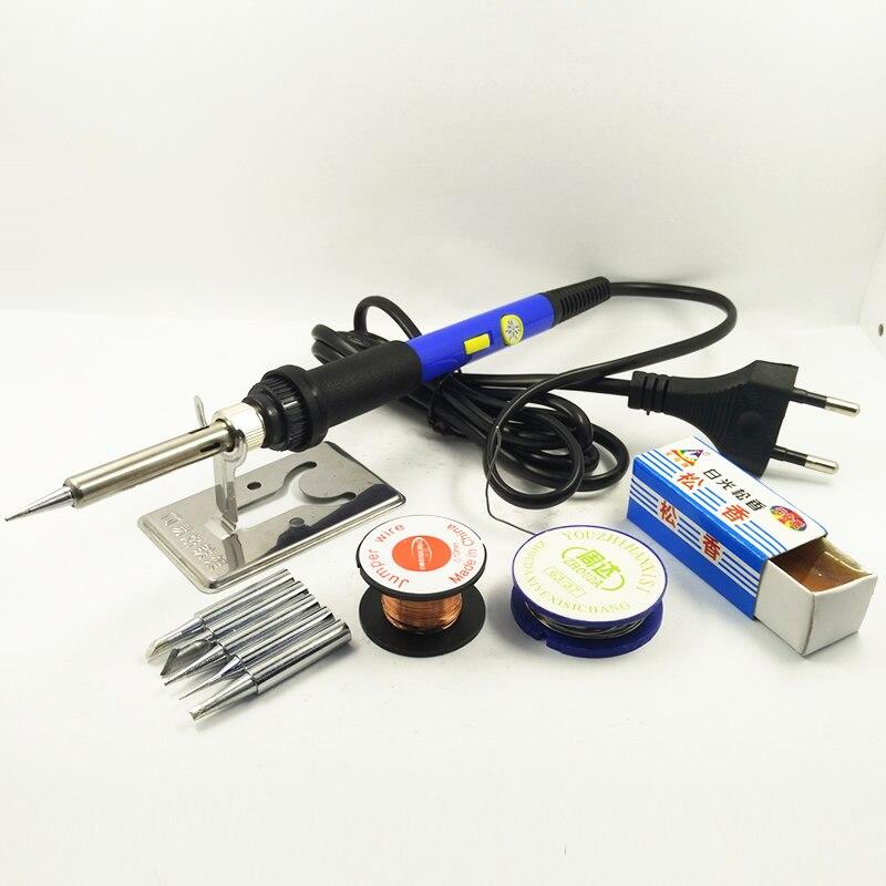 DGKS 60 Watt Netzschalter Einstellbare Temperatur Elektrische Lötkolben Set Schweiß Solder Station Heat Bleistift Reparatur 10 teile Werkzeug Kit