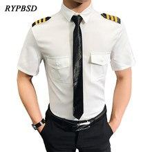 Camisa Social Manga Curta Air Force Pilots Uniform Shirt Men Black White Slim Fit Masculina Dress