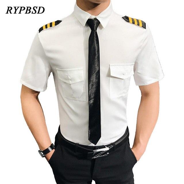 551d6dbdc7 Camisa Social Manga Curta Air Force Pilots Uniform Shirt Men Black White  Slim Fit Camisa Social Masculina Dress Shirt-in Casual Shirts from Men s  Clothing ...
