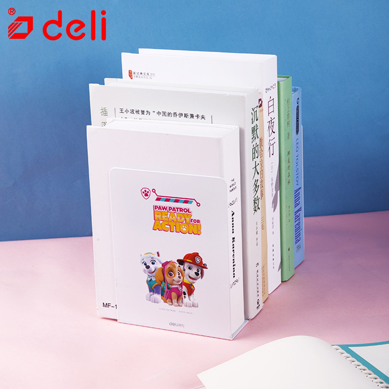 Deli 1Pair/Lot Bookends Creative Metal Bookends Paw Patrol Book File Holder Student White Book Stand Stationery School Supplies