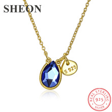 SHEON New Collection 925 Sterling Silver Water Drop Blue Crystal Necklaces & Pendants For Women Fashion SterlingSilver Jewelry