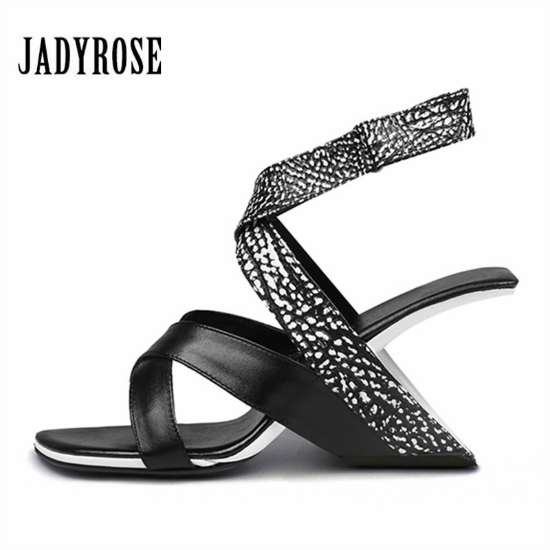 Jady Rose Black Fashion Women Shoes Summer Gladiator Sandals Strange High Heels Shoes Woman Wedges Pumps Red Peep Toe Slippers недорго, оригинальная цена