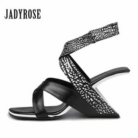 Jady Rose Black Fashion Women Shoes Summer Gladiator Sandals Strange High Heels Shoes Woman Wedges Pumps Red Peep Toe Slippers