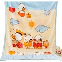 2017 New Double Thicken Warm Baby Blanket Cute Soft Cartoon Duck Pattern Swaddling Quilt Newborns Baby Bedding Blanket 3 Sizes