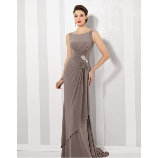 Boat Neck Sleeveless Long Evening Gown Simple Design Cheap Formal ...