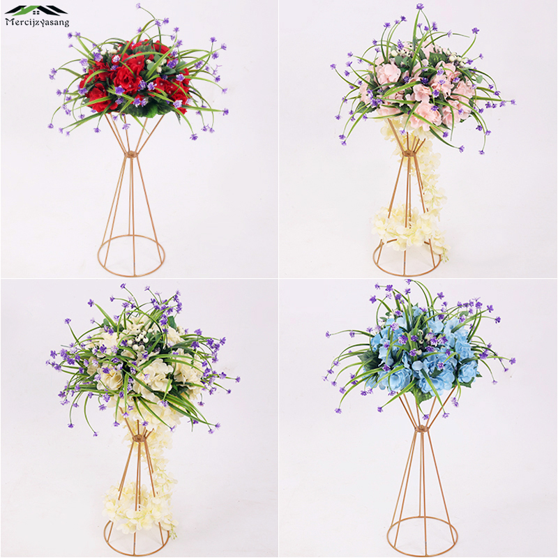 10Pcs/Lot Flower Vases Floor Metal Vase Plant Dried Floral Holder Flower Pot Road Lead for Home/Wedding Corridor Decoration G101-in Vases from Home & Garden    1