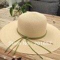 Оптом и В Розницу Женщины Широкий Большой Брим Floppy с кожи Sun Пляжа лета Соломенная Шляпка Cap с большим бантом Свободная Перевозка Груза