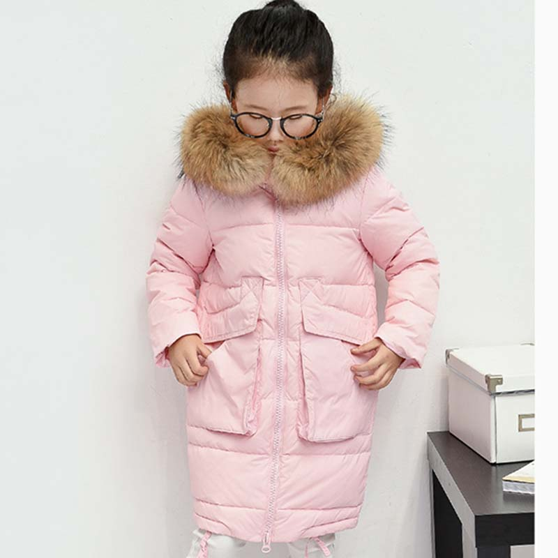 2017 Fashion Children's Duck Down Jackets Solid Long Down Coats Parkas Teenager Girl Winter Warm Coat Jacket Children Outerwear 2017 kids jacket winter for girl and coats duck down girls fluffy fur hooded jackets waterproof outwear parkas coat windproof