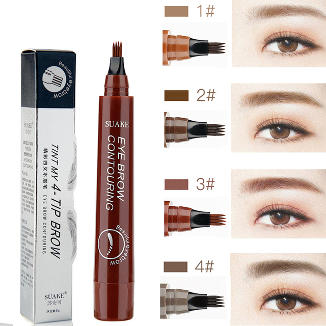 SUAKE Liquid Eyebrow Pencil Waterproof Microblading Fork Tip Fine Sketch Professional Eye Brow Tattoo Tint Pen Korean Cosmetics