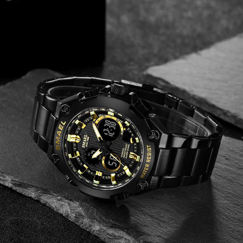 นาฬิกาควอตซ์ผู้ชายหรูหรายี่ห้อ SMAEL นาฬิกาผู้ชายบุรุษอัตโนมัติ Army Watches1363 กันน้ำปฏิทินนาฬิกาข้อมือควอตซ์
