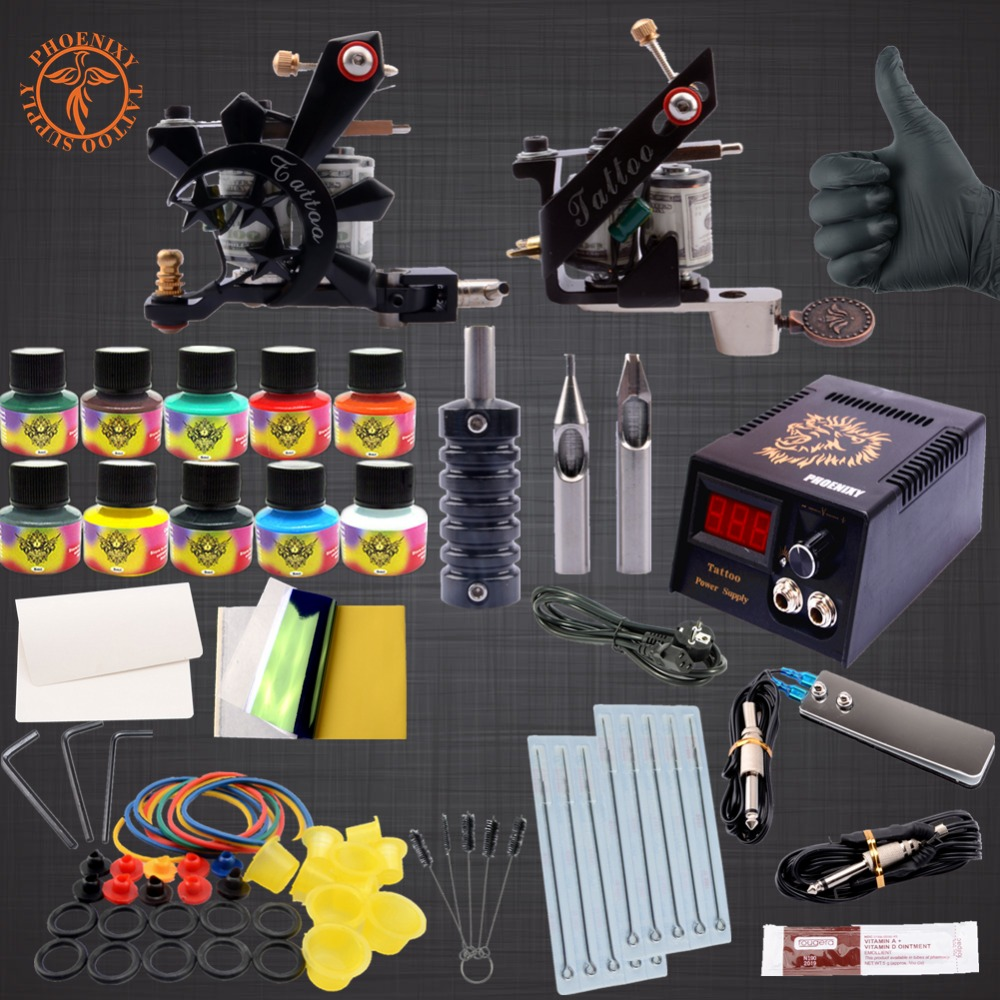 Professional Tattoo Kit  10 Colors Tattoo Ink Sets Black Power Supply Needles Permanent Make Up professional tattoo kits liner and shader machines immortal ink needles sets power supply