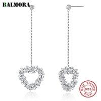 BALMORA 925 Sterling Silver Crystal Heart Dangle Earrings for Women Lover Gift Fashion Romantic Ear Line Jewelry Brincos SVE285