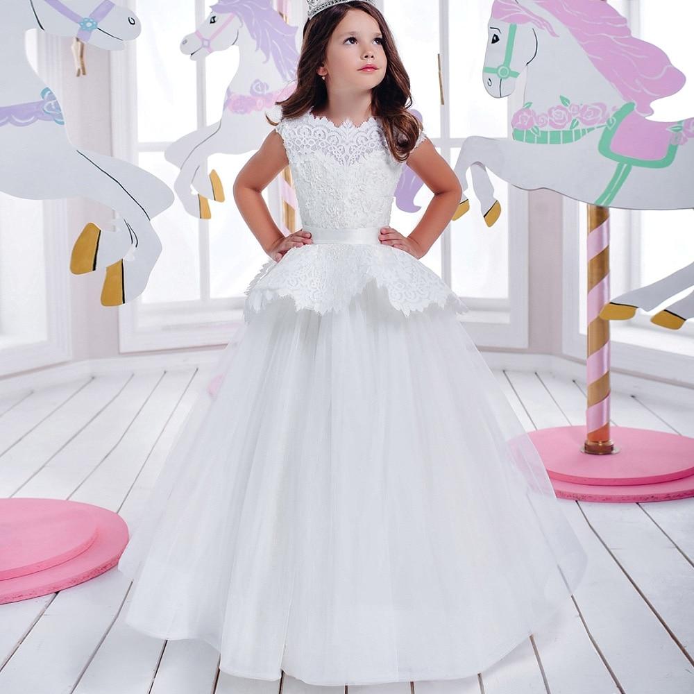 Pageant Dresses for Little Girls Appliques Ball Gown Sleevesless Bow Sashes Lace Up Princess Vestido De Primera Comunion Blanco nimble dresses for girls lace appliques princess party cloth