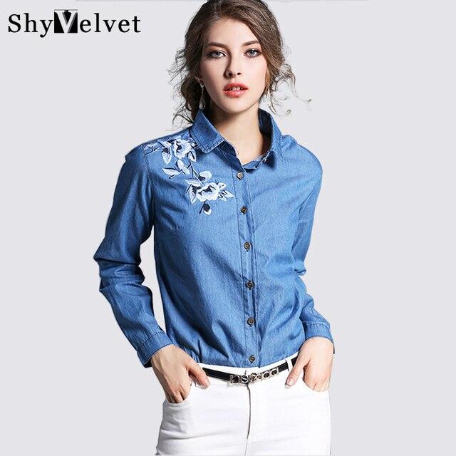 2016 новая мода джинсовая рубашка женская с длинным рукавом джинсовой блузка вышитые джинсовые рубашки женские винтажные Джинсы блузка повседневная топы