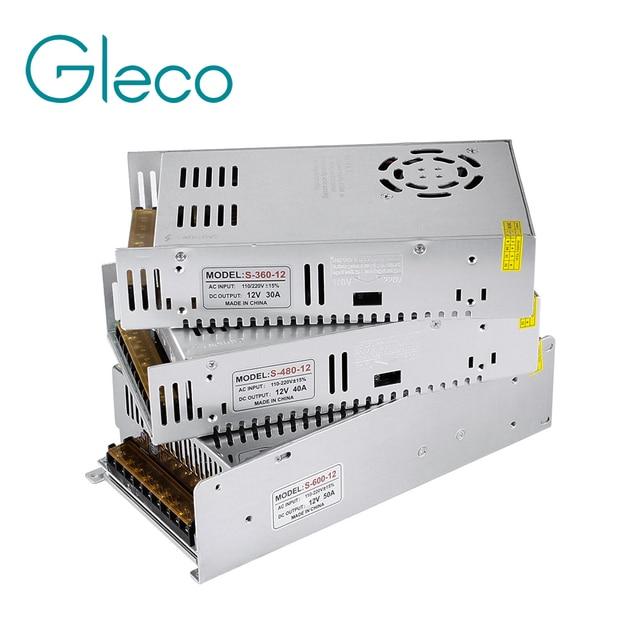 12V 24V Lighting Transformer 360W 480W 600W 12V Power supply for LED strip light LED driver 110-220V input