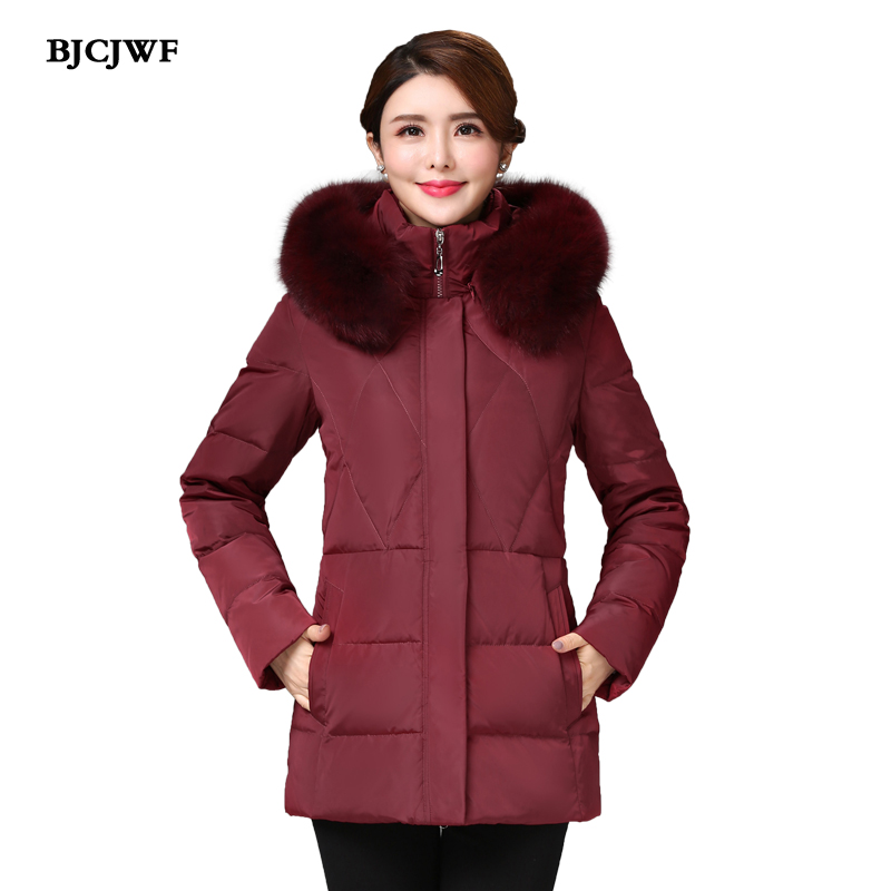 BJCJWF New Women s down jacket thick warm 90 white duck down coat Hooded Natural fur