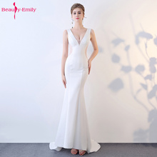 Beauty Emily Sexy V Neck Lace Evening Dresses Hollow Sleeveless Party Mermaid Open back Fashion Stage Vestido de noche