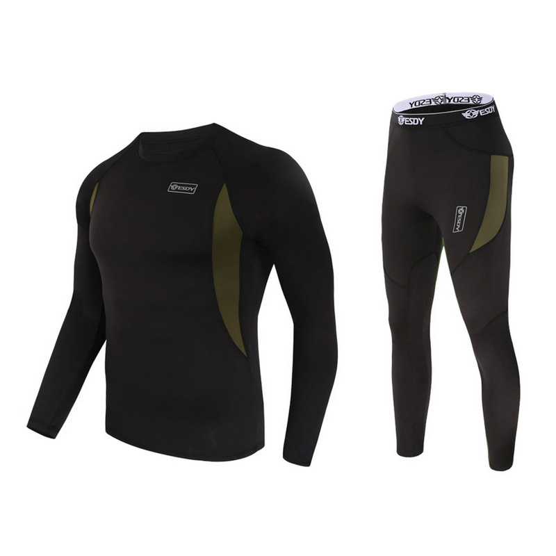 Prix pour Chaude 2017 ESDY Extérieure Printemps Automne Sport Polaire Thermique Chaud Sueur compression Sous-Vêtements Tactique Randonnée T-shirt Set Hommes