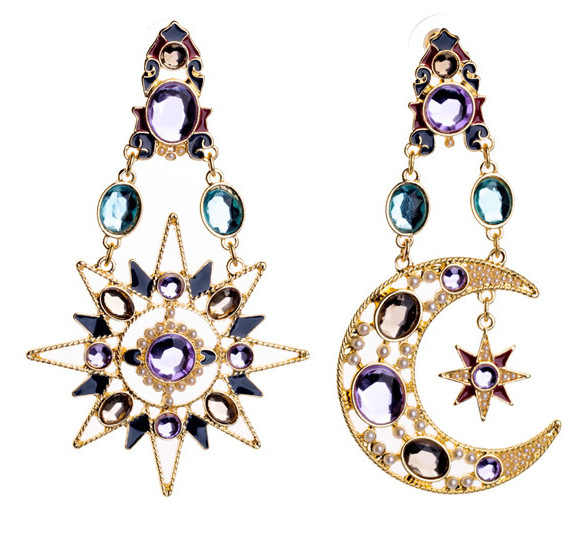 Fashion Earrings Brincos Luxury Moon And Star Pearl Blue Rhinestone Earing For Women Jewelry Earings Gift