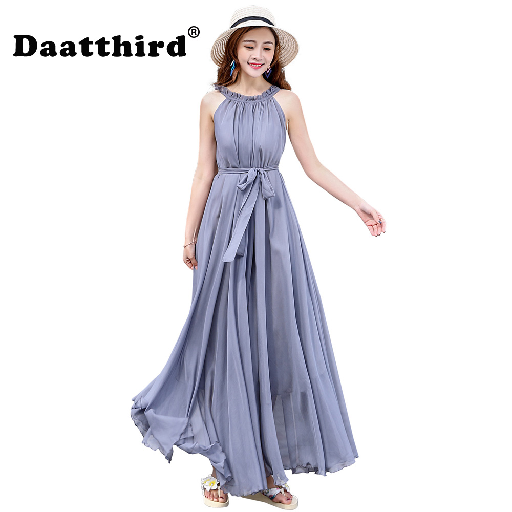 fe1e3666a6c 2018 Women s Chiffon Lightweight Bridesmaid Maxi Dress plus size  celebrity graduation Dinner Dress Beach Wedding Guest Sundress