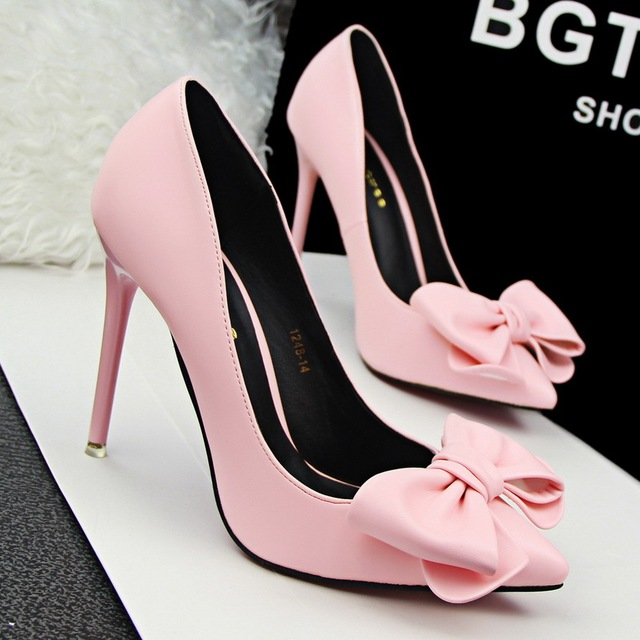 Black Yellow Pink Green Bowtie Pointed Toe Court Shoes Wedding Bridal Pumps High Heels Wedding Women Shoes SMYDS-0064