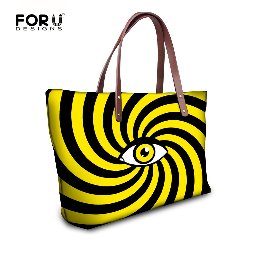 FORUDESIGNS Brand Designer Women Vintage Handbags,Fashion Summer Ladies Large Shoulder Bags,Female Eyes Casual Tote Beach Bag forudesigns vintage black pet dog printed women large handbags fashion ladies top handle bag girls shoulder female big tote bag