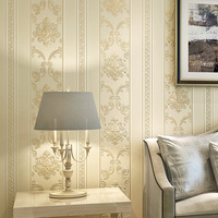 3D Stereo Relief Wallpaper European Style Damask Vertical Striped Non woven Wallpaper Hotel Living Room Backdrop Wall Covering