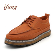 ifang 2017 fashion Flats men Brogue Thick soles men's Footwear Flats Shoe Male Retro shoes mans Flats Zapatos de los hombres