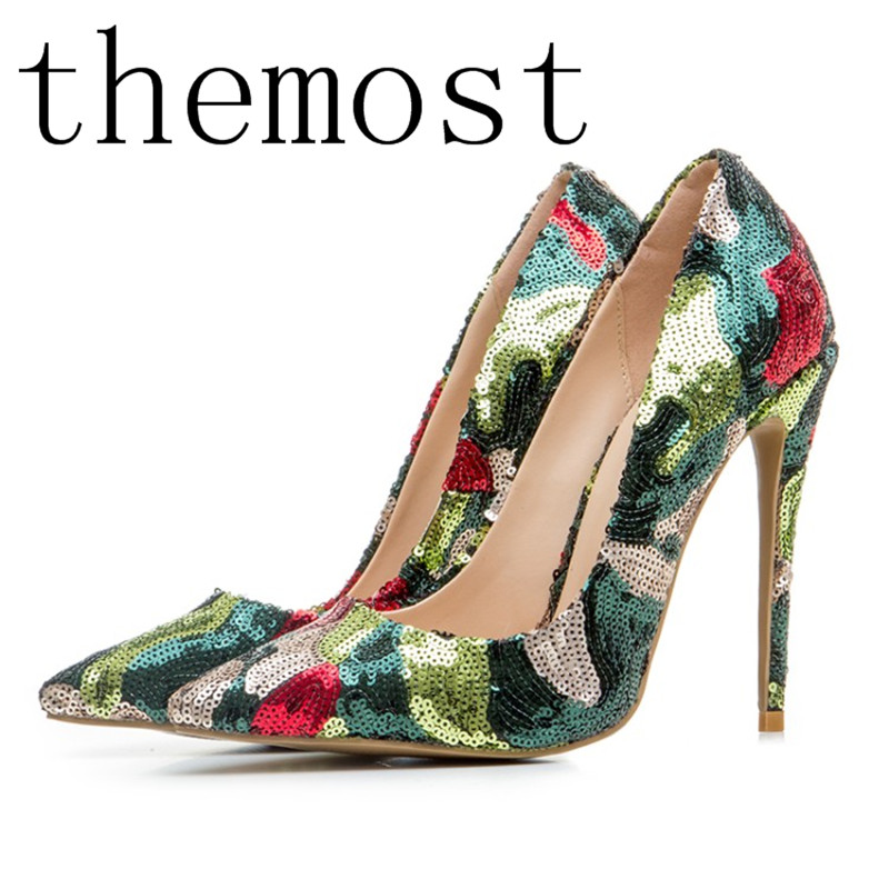 themost 2018 European and American spring summer sexy fashion pointed high and color sequined women's shoes themost sexy fish mouth hollowed out roman sandals fashion foreign trade european and american style four colors can be selected