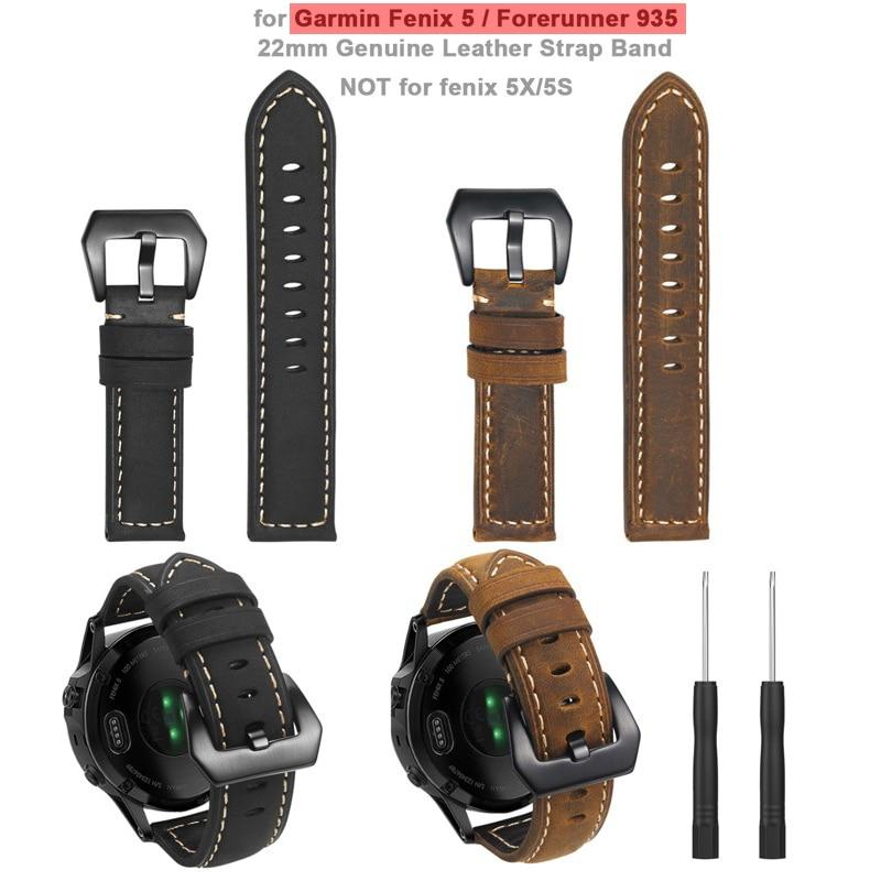 22mm Genuine Leather Strap Smart Watch Wrist Band Bracelet for Garmin Fenix 5 /Forerunner 935
