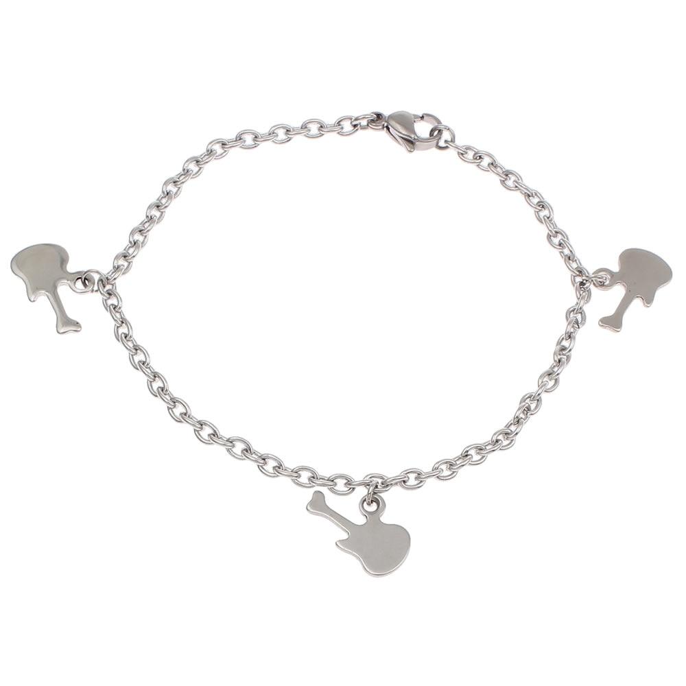 2017 Stainless Steel Guitar Chain Silver Love Charm Bracelets Women Man  Jewelry Accessories Friendship Wristbands Femme
