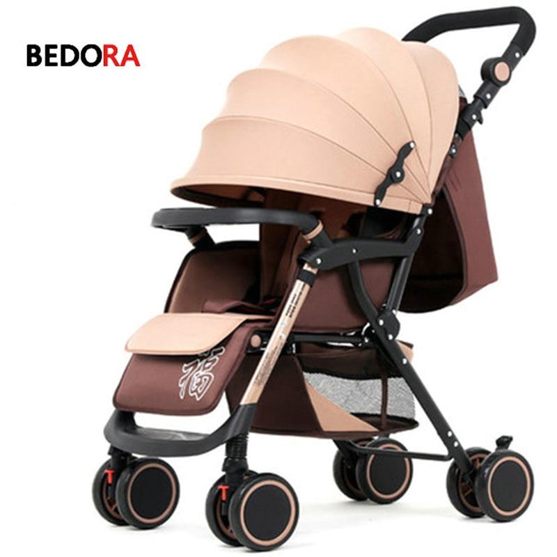 Berdora baby stroller can sit reclining lightweight folding four wheel shock newborn baby stroller baby cart free shipping цена 2017