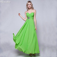 ZJ0006 2018 Long Cheap Mint Green Bridesmaid Dresses Under 50 Floor Length Chiffon A Line Size