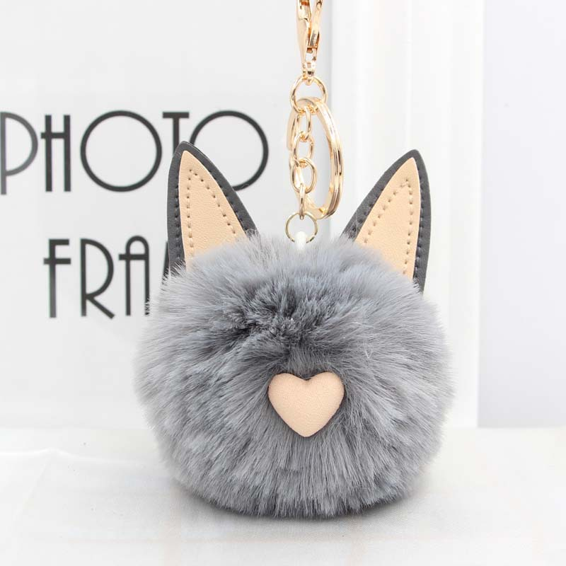 Cute Women's Cat Ears Fur Ball Keychain Fur Pom Pom Keychain Bag Purse Car Key Holder Fluffy Golden Keyring Pendant Llaveros cute fox bobbles fur ball rhinestone keychain bag car ring keyring