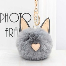 Cute Women's Cat Ears Fur Ball Keychain Fur Pom Pom Keychain Bag Purse Car Key Holder Fluffy Golden Keyring Pendant Llaveros