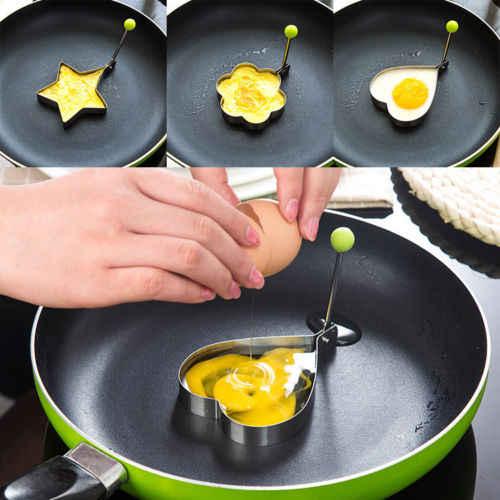 1 pc Panqueca Moldes Moldes Para Ovos de Aço Inoxidável Anel Coração Flor Forma Torta de Utensílio de Cozinha Fritar Omelete Ovo Escalfado fritar Ovos