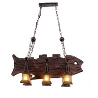 6 Лампы для мотоциклов люстра Лофт Винтаж древесины рыбы Форма декоративные промышленных висит свет Крытый фары