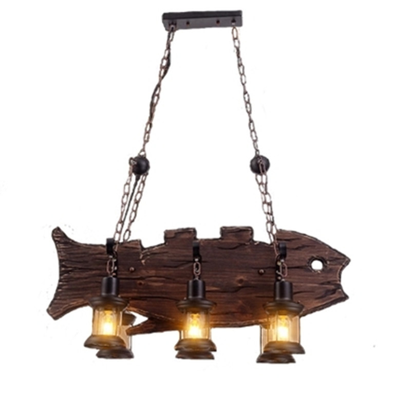 6 Lamps Chandelier LOFT Vintage Wood Fish Shape Decorative Industrial Hanging Light Indoor Lights professional salon ptc heating ceramic negative ions steam automatic hair curler hair style tools