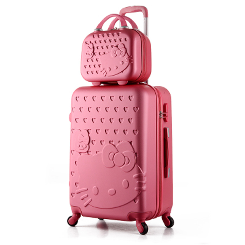 14+24 inch Pink Women Cartoon Hello Kitty Suitcase Set,Spinner Rolling Luggage Sets,Trolley Luggage Travel Bags maleta de viaje new 20 inch hello kitty spinner travel luggage suitcase sets kids student women trolleys rolling luggage ems dhl free shipping