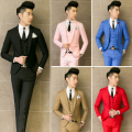 Three piece Suit Men Wedding Dress Man 2015 New Brand Costume Homme Groom Business Formal Mens Suits Wedding Solid 5 colors