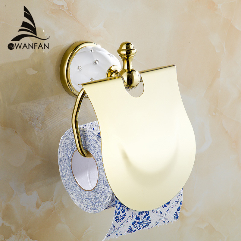 Gold Toilet Paper Holder with diamond Roll Holder Tissue Holder Solid Brass Bathroom Accessories Products Paper Hanger 5208 oil rubbed bronze square toilet paper holder wall mounted paper basket holder