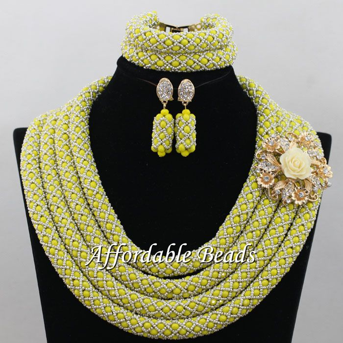 New Wedding Bridal Jewelry Set Popular Nigerian Wedding Necklace Best Design Handmade Item NCD094