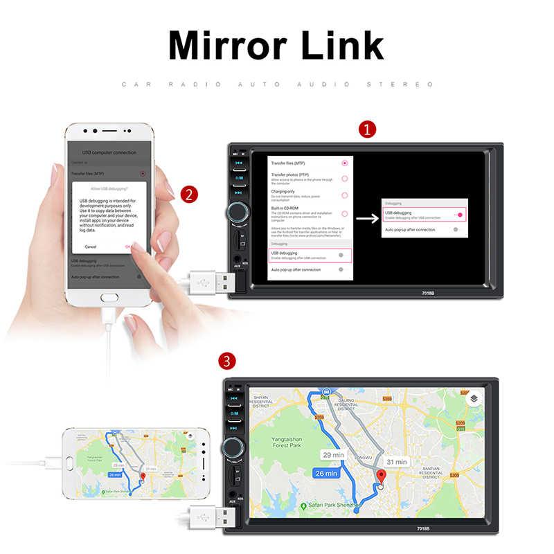 """Autoradio 2 din カセットレコーダー車ラジオ HD 7 """"7018B タッチスクリーンカーオーディオ Bluetooth リアビューカメラ MP5 マルチメディアプレーヤー"""